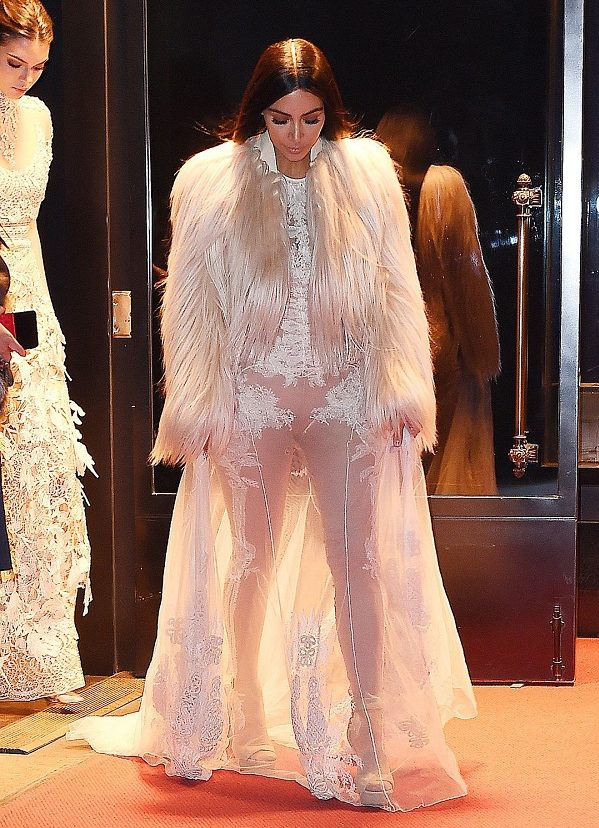 Kim Kardashian in a 'naked' outfit