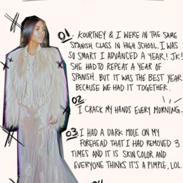 Kim Kardashian shared 20 facts about herself